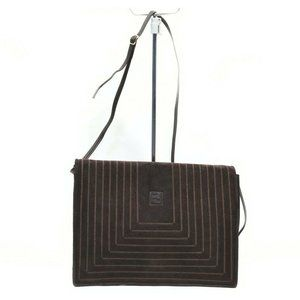 Auth Fendi Crossbody Bag Brown Suede #N2012E25